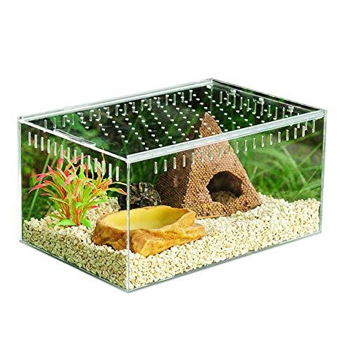 Scatola per allevamento di rettili chiari Piccolo terrario in acrilico Vista completa Scatola di alimentazione per rettili per...