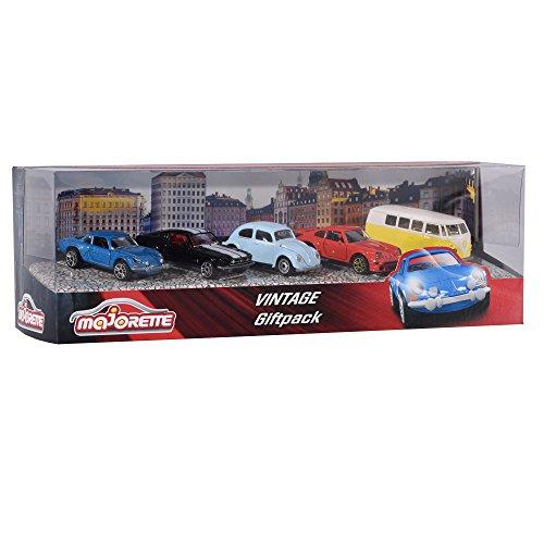Majorette 212052013 - Vintage Geschenkset, Miniaturfahrzeuge, 5 Spielzeugautos, 7,5cm