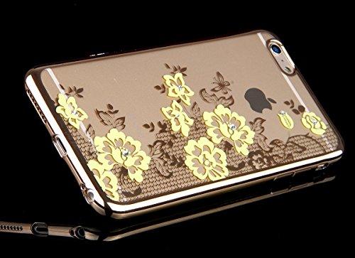 Custodia iPhone 6S Plus,Custodia iPhone 6 Plus,Custodia Cover per iPhone 6 / 6S Plus, ikasus® Placcatura in oro rosa Lucido di cristallo di scintillio strass Diamante Glitter Plating Rose Golden iPhon Pizzo Giallo Farfalla Fiore Floreale