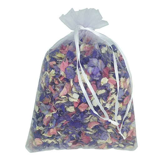 1 Litre of Natural Biodegradable Mixed Colour Delphinium Petals with a White Organza Bag - Wedding...