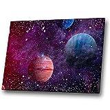 Fantasy Sci-Fi-Galaxie Sterne Lila Landschaft Leinwand-Wand-Kunst-großes Bild drucken