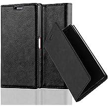 Sony Xperia Z5 COMPACT Funda Estilo Libro de Cuero Sintético en NEGRO ANTRACITA de Cadorabo (Diseño IMÁN INVISIBLE) – Cubierta Protectora con Cierre Magnético, Tarjetero y Función de Suporte – Protección Carcasa Caja Etui Case Cover