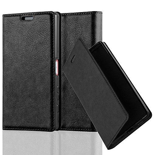 Cadorabo Hülle für Sony Xperia Z5 COMPACT - Hülle in Nacht SCHWARZ – Handyhülle mit Magnetverschluss, Standfunktion und Kartenfach - Case Cover Schutzhülle Etui Tasche Book Klapp Style