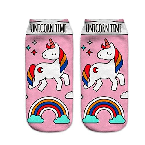 Unicoco Calcetines Cortos Deportivos de Unicornio de Algodón Linda Dibujos Animados con Estampados Para Mujeres Chicas Regalo de Navidad 1 Par