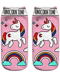 Unicoco Calcetines Cortos Deportivos de Unicornio de Algodón Linda Dibujos Animados con Estampados Para Mujeres Chicas