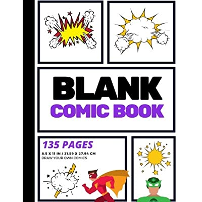 Blank Comic Book: Create Your Own Comic Strip, Blank Comic Panels, 135 Pages, Purple (Large, 8.5 X 11 In.)