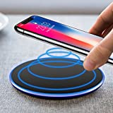 Cargador Inalámbrico,UBEGOOD Wireless Charger Qi Quick Charger Wireless Carga Rápida para iPhone X/8/8 plus, Samsung Galaxy S8/S8 Plus/Note 8/S7 Edge, Nexus 4,5,6, etc - Negro
