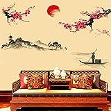 Dragon868 3d Adesivi Murali Pittura a inchiostro classica di stile cinese Fai da te Adesivi Murali Cameretta Cucina Salotto Home Decor 60cmX90cm (Rosso)