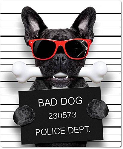 Mauspad / Mouse Pad aus Textil mit Rückseite aus Kautschuk rutschfest für alle Maustypen Motiv: Französische Bulldogge Fahndungsfoto mit Sonnenbrille und Knochen | 17