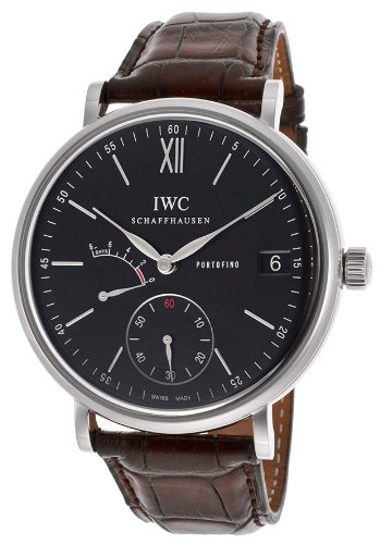 IWC Men's 45mm Brown Alligator Leather Band Steel Case S. Sapphire Mechanical Black Dial Watch IW510102