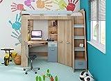 Hochbett/Etagenbett/Entresole – alle in einer rechts Ablesen Treppen – Kinder Möbel Set. Bett, Kleiderschrank, Regal, Schreibtisch Sonoma Oak - Sky Blue