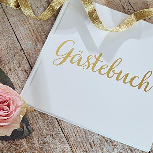 Hochzeits Gästebuch / Gästebuch aus weißem Papier mit elfenbeinfarbenem Band, Goldfolienprägung und hochwertigem 180 g/m2-Papier, 32 Seiten / 64 Seitenflächen – Hochzeitsgästebuch