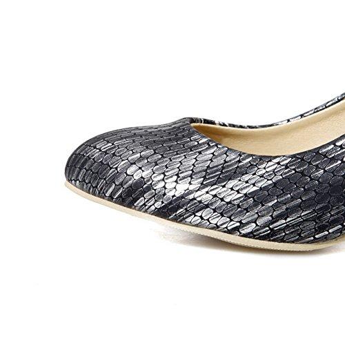 VogueZone009 Femme Pointu Tire Pu Cuir à Talon Correct Couleur Unie Chaussures Légeres Noir