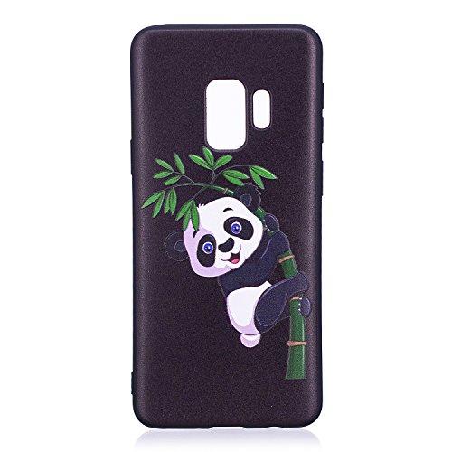 Herbests Coque Galaxy S9 Housse en Silicone Etui Ultra Mince Slim Flexible Souple Soft Gel TPU Bumper Case Ultra Fine Anti Choc,Panda Bambou