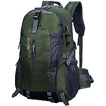 TanXianZhe Impermeable 40L Deportes al aire libre Alpinista Excursionismo Cabañas y Casual Macuto Mochila(Verde oscuro)
