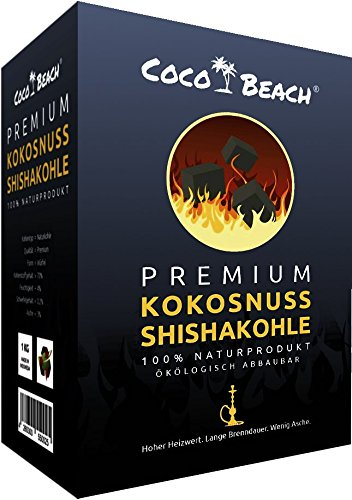 CocoBeach Premium Shishakohle (1 kg) - Naturkohle - 100% Kokosnuss [120 Minuten Brenndauer, starke Hitze, kein Eigengeschmack]