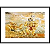 MYIMAGE Lord Krishna With Geeta Updesh To Arjun Canvas Cloth Printing Framed Poster (13. 0 Inch X 19. 0 Inch)