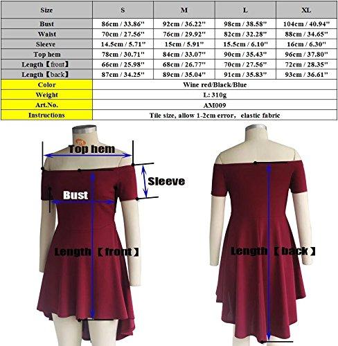 UrCool Damen Schulterfreies Kleid Skaterkleid Ballkleid Kurzarm Abendkleid Cocktailkleid Festlich Partykleid Blau
