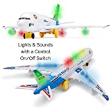 Toyze?Bump and Go Action, A380 Airplane Airbus Toy Model With Beautiful Attractive Flashing Lights and Loud Music by ToyZe