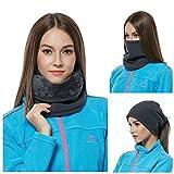 LvLoFit Winddicht Nackenwärmer Mehrfachfunktion für Snood Kopf Beanie Gesichtsmaske Scarf Thermo Fleece Winter Sport Herren Damen Neckwarmer (Grau)