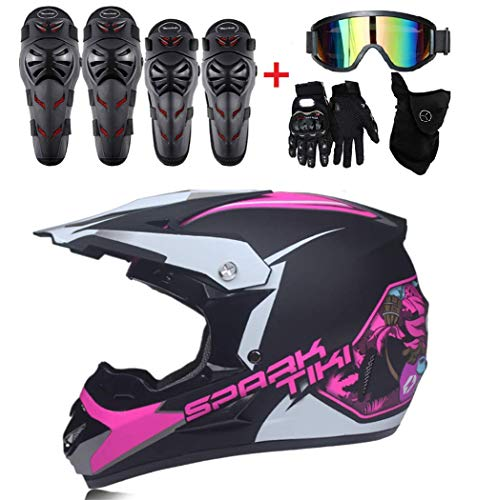 Casco Moto per Bambini Motocross Cross off-Road Matte Black ATV Quad Occhiali/Guanti/Mask Pads e Gomiti 9 Pezzi Set,A,XL