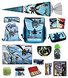 Familando Dragons Schulranzen-Set 24tlg. mit Schultüte 85cm und Regenschutz Drachenzähmen leicht gemacht