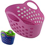 BRAND NEW - FLEXI PEG BASKET - IDEAL FOR PEGS, SOCKS (PEGS NOT INCLUDED) (PINK)
