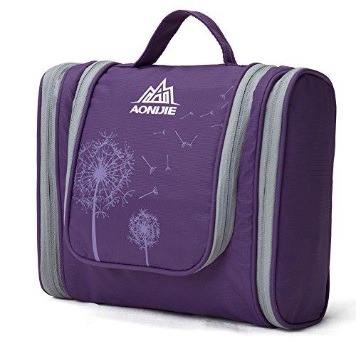 Aosbos Neceser Impermeable Colgando de Viaje Bolsa de depote para Hombre Organizador de Maquillaje para Mujer (violeta)