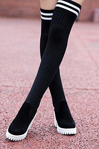 Aisun Femme Mode En Tricot Genou Talons Hauts Bottes Noir