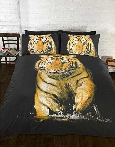 Tiger Orange Gelb Schwarz Weiß Bettbezug Größe King Size 230cm x 220cm (Tröster Tiger Set)