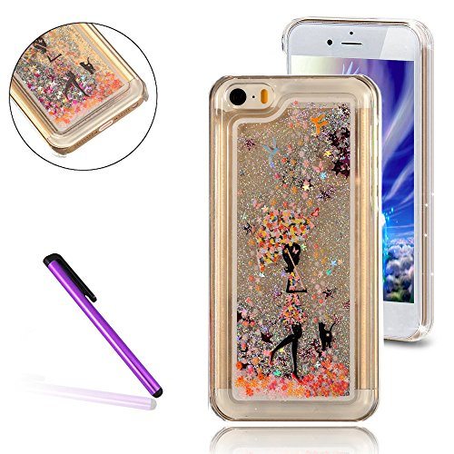 iPhone 5C Hülle,iPhone 5C Case,iPhone 5C Cove,3D Kreativ Muster Transparent Hard Case Cover Hülle Etui für iPhone 5C,EMAXELERS Cute Tier Cat Kaninchen Serie Bling Luxus Shiny Glitzer Treibsand Liquid  B Girl 3