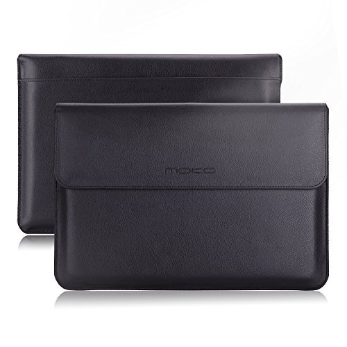 "MoKo Sleeve Custodia Protettiva in Eco Pelle per MacBook Air 13.3"" e Macbook Pro 13.3"" con Tasca Integrata per Schede e Feltro Morbido Interno, Nero"