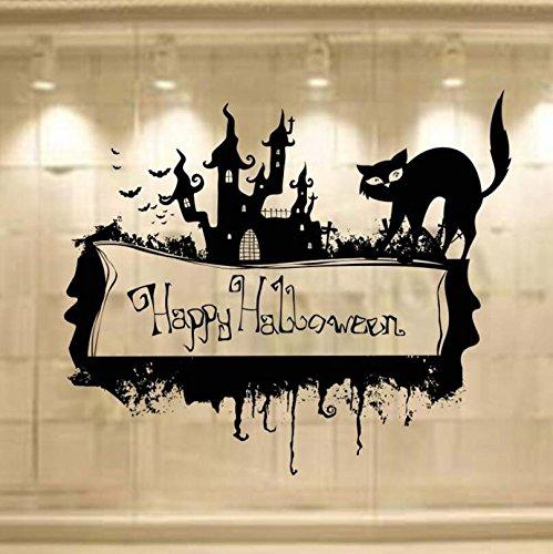Kicode Mauer Aufkleber Schloss Katze Happy Halloween PVC Home Wohnzimmer Schlafzimmer Aufkleber Dekore Dekoration Persönlichkeit Kreativ Schwarz Stil