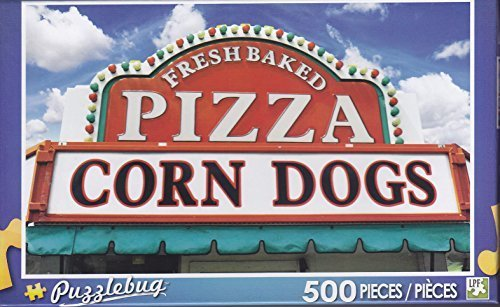 Puzzlebug 500 Piece Jigsaw Puzzle ~ Pizza and Corndog Sign by Puzzlebug (Pizza Puzzle Jigsaw)