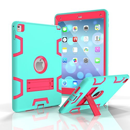 iPad Air 2Hülle iPad 6Case darmor Shop [Heavy Duty] [Standfunktion] PC + Silikon Hybrid Schutz Drei Schicht Armor Defender Full Body Schutzhülle für iPad Air 2/iPad 6, Aqua&RoseRed