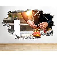 tekkdesigns C558Zapatillas Correr Fitness ejercicio Smashed adhesivo pared 3d arte pegatinas vinilo habitación