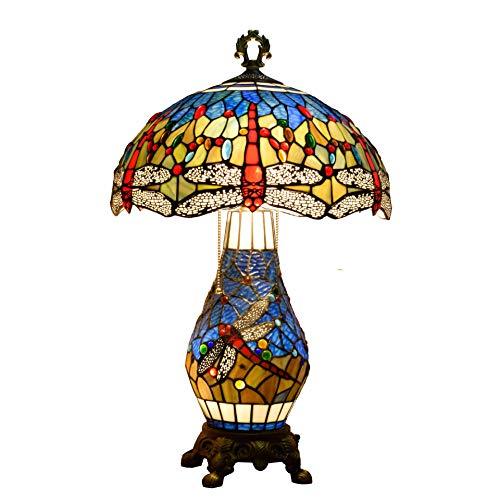 Litaotao 16 Zoll Tiffany Style Art Tischlampe Lesetisch Neben Lampe Gebeizter Libellenschirm Mit Aluminiumfuß Schreibtischlampe, 110-220 V, E27 / E14