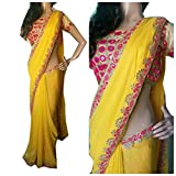 SUNSHINE Yellow & Golden Color Georgette Fabric Mirrorwork Saree ( New Arrival Latest Best Choice and Design Beautiful Sarees and Salwar suits and Dress Material Collection For Women and Girl Party wear Festival wear Special Function Events Wear In Low Price With Todays Special Offer with Fancy Pattern Designer Blouse and Bollywood Collection 2017 Good Looking Clothes )