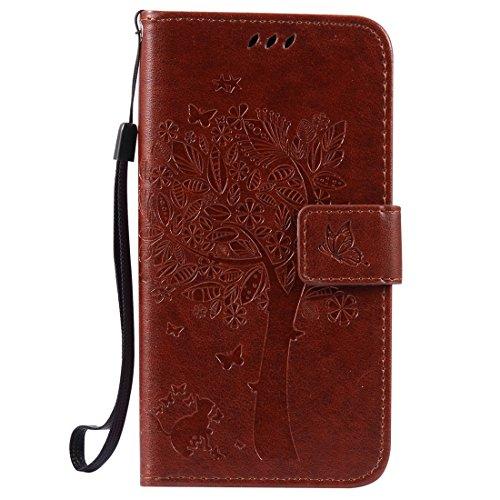 Huawei GR3 / P8 Lite SMART Hülle, Chreey Prägung [Katze Baum] Muster PU Leder Hülle Flip Case Wallet Cover mit Kartenschlitz Handyhülle Etui Schutztasche [Braun]