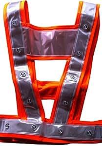 Gilet Baudrier Orange PRO de Sécurité Fluo à 24 Leds rouges DELUXE