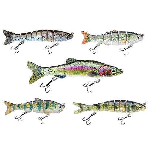 Decoy Set de 5 leurres Appât de pêche aux leurres Spinner Jerkbait optimale pour les poissons prédateurs pour le brochet, Wells, la morue, fileur, Zander