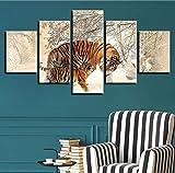 Wiwhy Zitate Kunst Tier Poster Leinwand Wandmalerei Hd Gedruckt Moderne 5 Stück Tiger Wohnzimmer Bilder Home Decoration Modulare Rahmen-10X15/20/25Cm