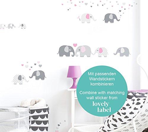 Lovely Label Bordure Selbstklebend Elefanten Grau Rosa Wandbordure