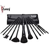 Zureni 12 Pcs Makeup Brushes For Face And Eye Cosmetics, Premium Synthetic Hair, With Black Brush Bag Organizer