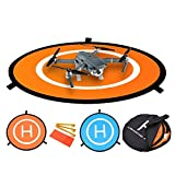 Powerextra Landing Pad with 3 ABS Land Nails and 8 Reflective Pasters, Collapsible and Waterproof, Ultra for DJI Spark, DJI Phantom 2 3 4 4 Pro, DJI Mavic Pro, 3DR Solo, Parrot, Yuneec Typhoon, Antel Robotic X-star, Other Brand Drones (80cm)