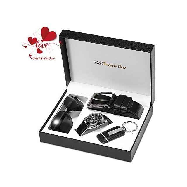 Bstcentelha pour Homme Cuir synthétique à Quartz analogique Montre Bracelet Ceinture  Porte-clés Coffret Cadeau ... 7f8367f479f