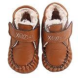 AUBIG Winter Leder Babyschuhe Lauflernschuhe Krabbelschuhe Kleinkindschuhe Antislip Weich Warm - Innere Länge 12.7 cm - Braun