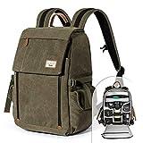Kameratasche, Zecti Waterproof Segeltuch Professional Kameratasche DSLR-Kamera-Reisetasche mit Regenschutz für Canon Nikon DSLR-Kamera, Objektiv und Zubehör - Grün