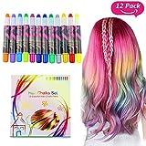 Buluri 12 colores Set de tiza para el cabello, plumas de tiza profesionales para el cabello, plumas de tinte para el cabello no tóxicas -Funciona en todos los colores del cabello