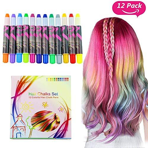Buluri Haarkreide Non-Toxic 12 Farbe Natürliche Haare Kreide Stifte Temporäre Haarfarbe für Mädchen, Perfektes Geschenk für Karneval, Weihnachten & Geburtstag (White (Halloween Haar Farbe)